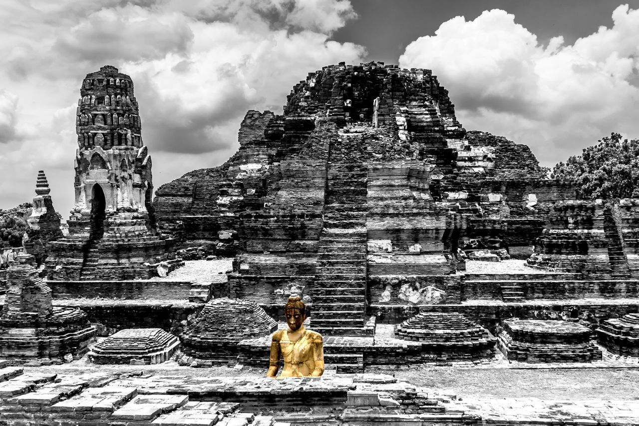 spirituality, old ruin, religion, architecture, building exterior, sky, built structure, place of worship, cloud - sky, ancient, real people, outdoors, day, history, statue, one person, ancient civilization, nature, tree, mammal, people