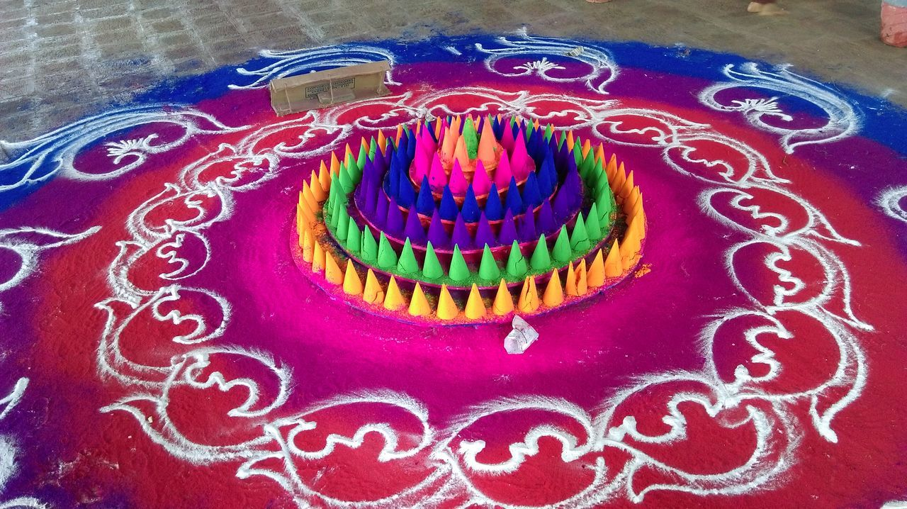 Pattern Pieces Colourful Rangoli BeautifulRangoli Bright Colors Colours Of India TakeoverContrast
