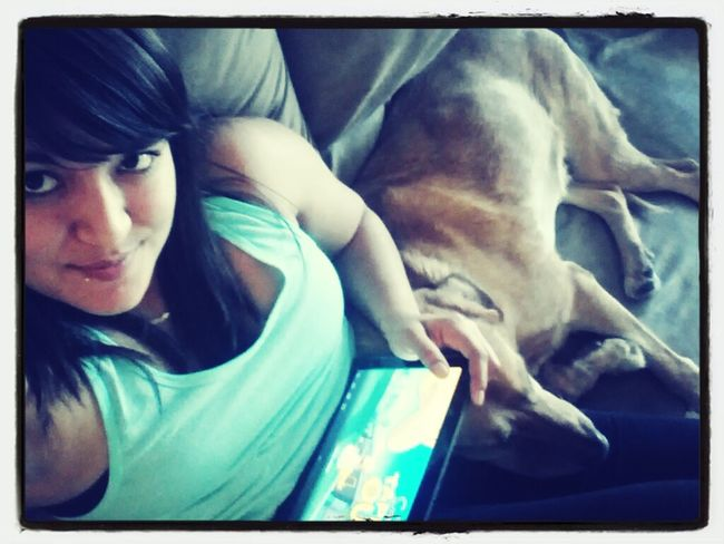 relaxing morning with Wrigley. playing Simpsons game on the tablet and watching a movie. <3