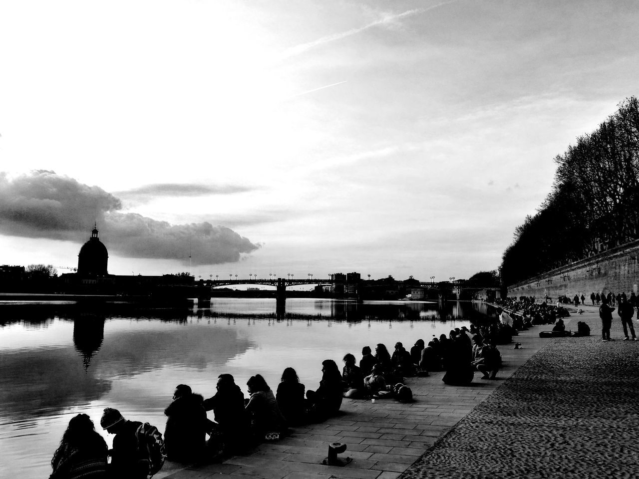 Reflection Water Silhouette Sky Outdoors People Cloud - Sky Cloud Dramatic Sky Light And Shadow Black And White City Street Light River Tree