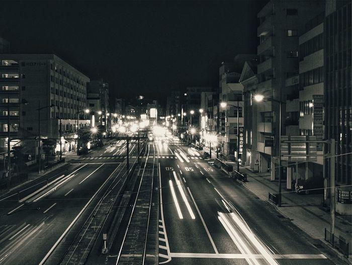 Scanning Line Night Photography Somewhere Nagasaki City On The Bridge Perspective Handheld Exposure 1.3 sec LUMIX G VARIO 14-45/F3.5-5.6 50mm Discover Your City Noiretblanc