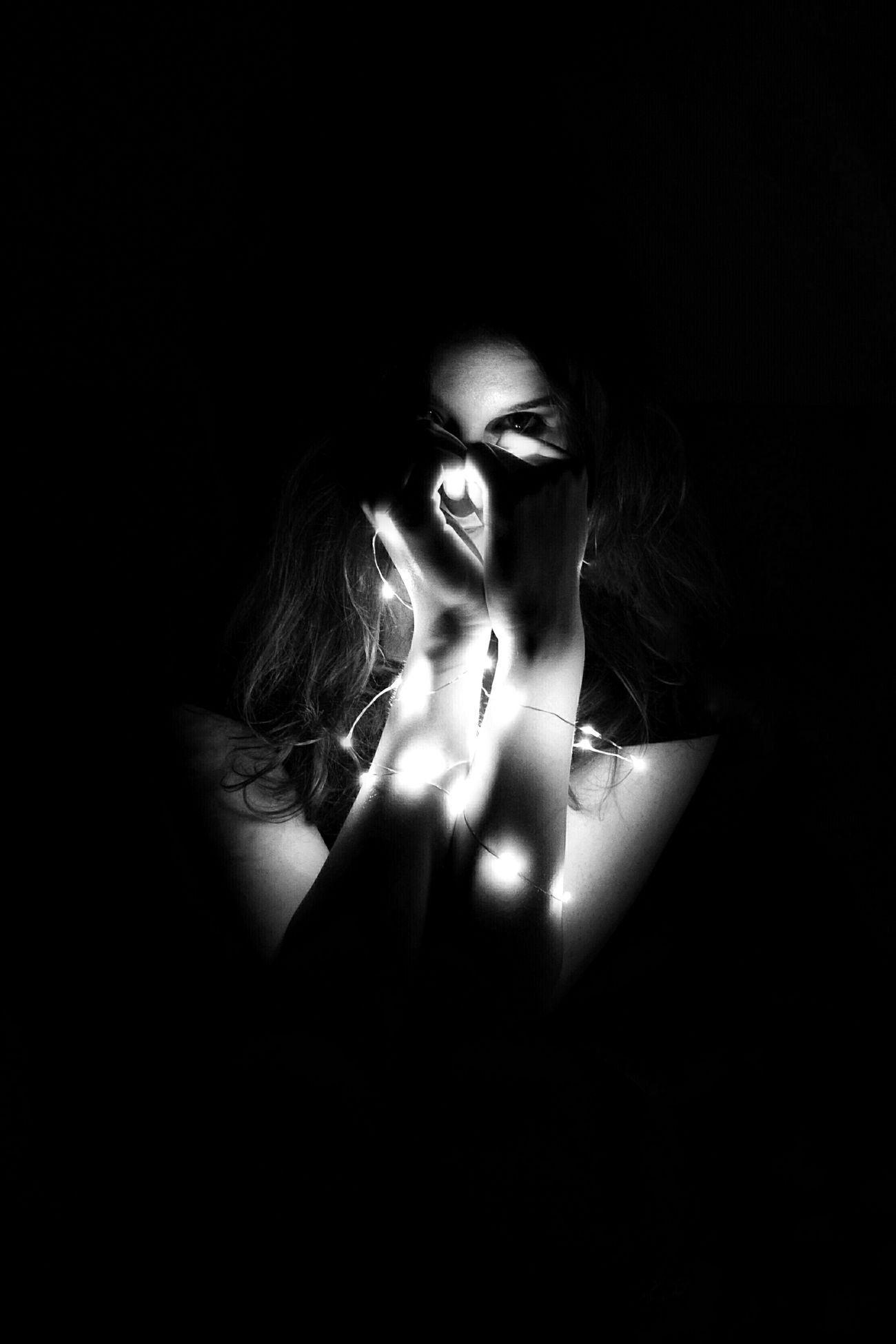 Shadow Dark Beauty Beautiful People Females Monochrome Black Background Indoors  Human Hand Light EyeEmNewHere Photo Photography Grunge Vintage Style Blackandwhite Photography Grey And White Sleepwalker Wicked People All_shots Portrait Closed Minds
