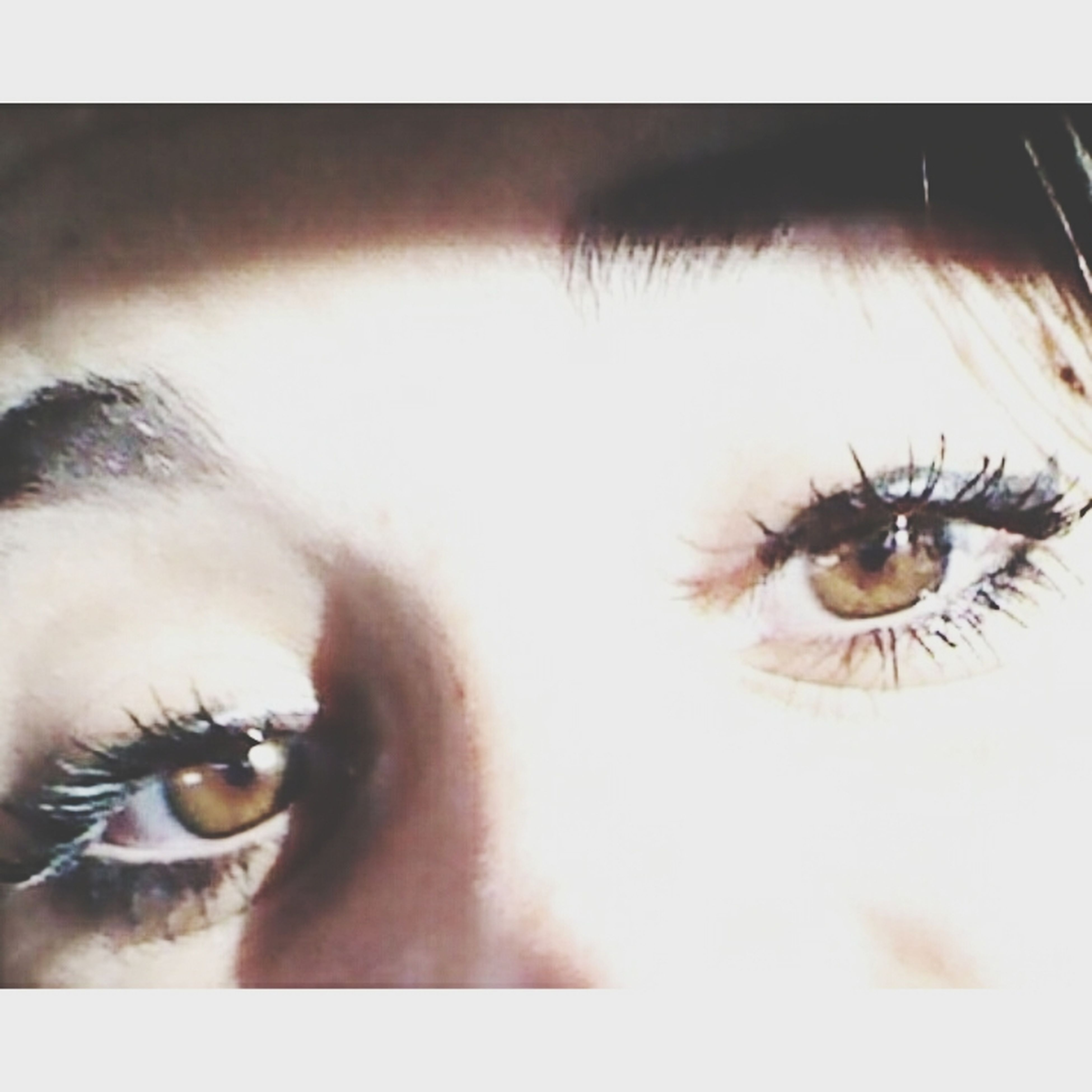 transfer print, auto post production filter, close-up, indoors, part of, human eye, person, looking at camera, human skin, sensory perception, lifestyles, unrecognizable person, human finger, portrait, eyelash, cropped, eyesight