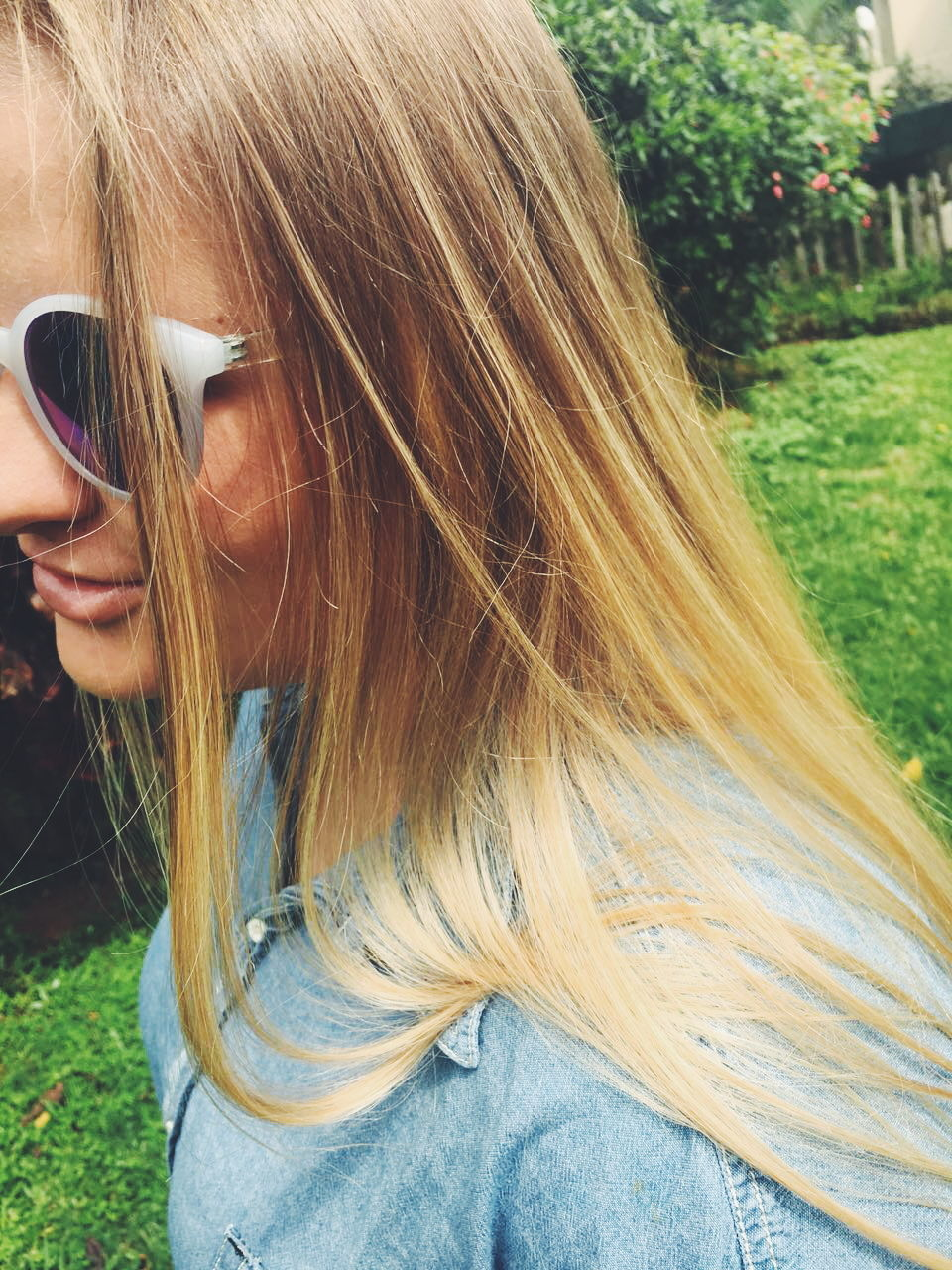 sunglasses, long hair, outdoors, one person, grass, day, close-up, young adult, people