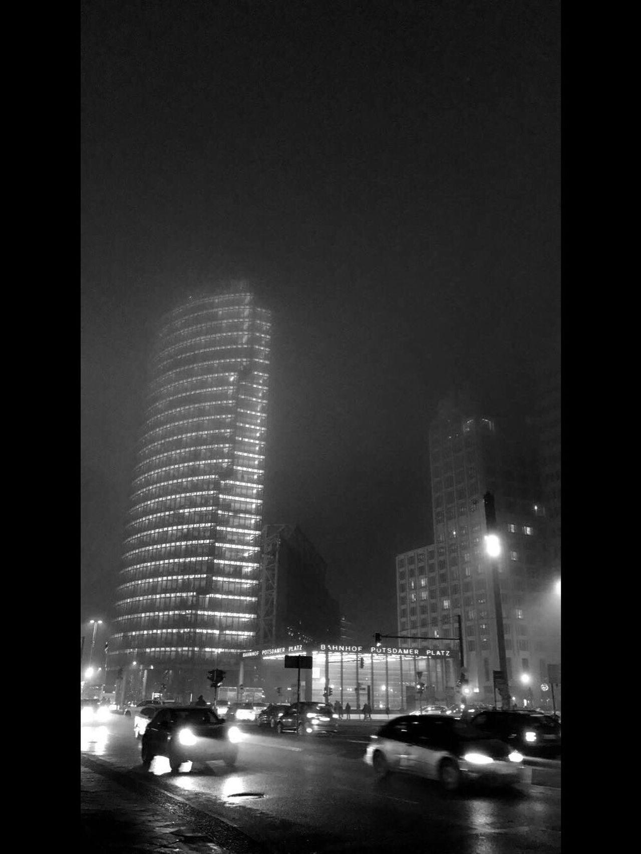 Streetphotography Blackandwhite Fog Lights Urban City Traffic Architecture Skyscraper Typography Berlin