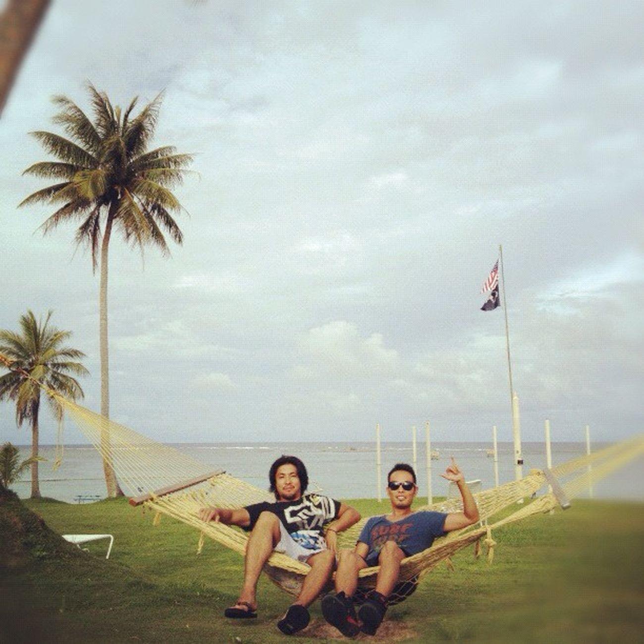 海辺でハンモック。イイネ‼ Sea Guam 海 Webstagram Hafaadai グアム