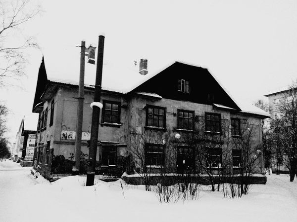 Snowy Old House in Murmansk Winter Small City Life Architecture Black And White Monochrome Winter Day Walking Around