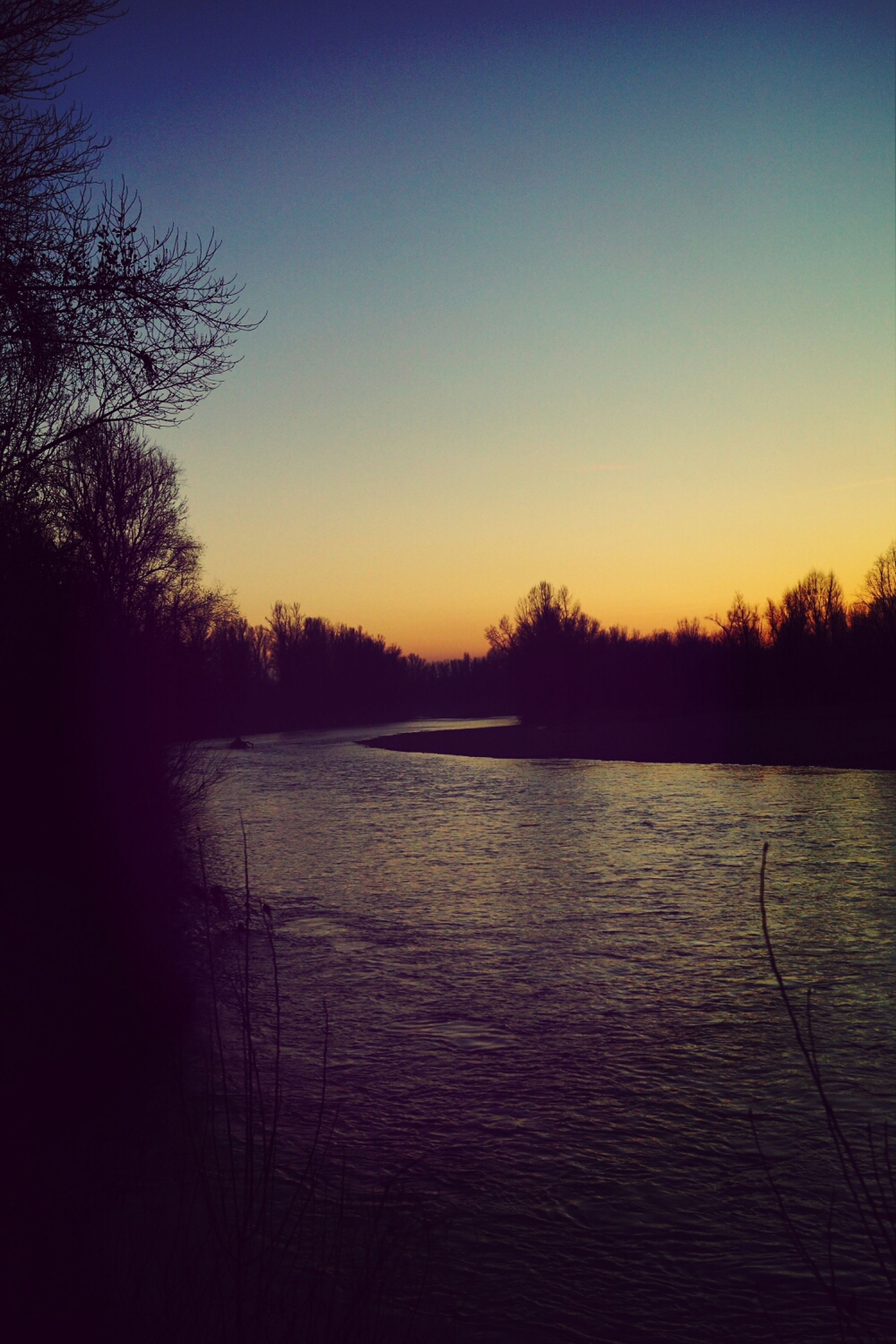 sunset, tranquil scene, tranquility, scenics, tree, silhouette, beauty in nature, lake, water, nature, clear sky, orange color, idyllic, reflection, copy space, bare tree, sky, dusk, river, landscape