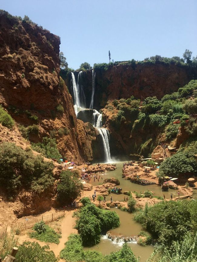 Ouzoud Falls Beauty In Nature Cliff Day Flowing Flowing Water Green Color Growth Idyllic Morocco Motion Mountain Nature Outdoors Ouzoud Falls Plant Rock Rock - Object Rock Formation Scenics Tranquil Scene Tranquility Travel Destinations Tree Water Waterfall