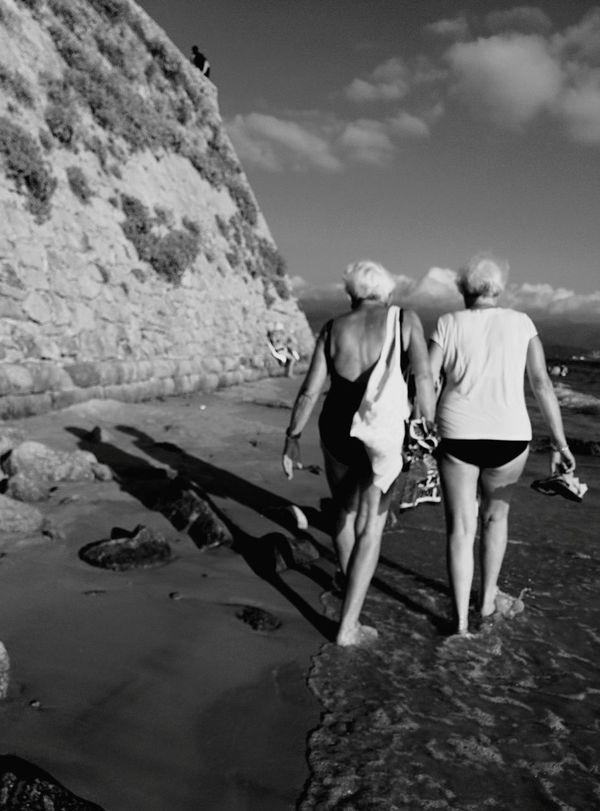 Friendship neverending. Blackandwhite Oldpeople Beach Corsica The Moment - 2015 EyeEm Awards