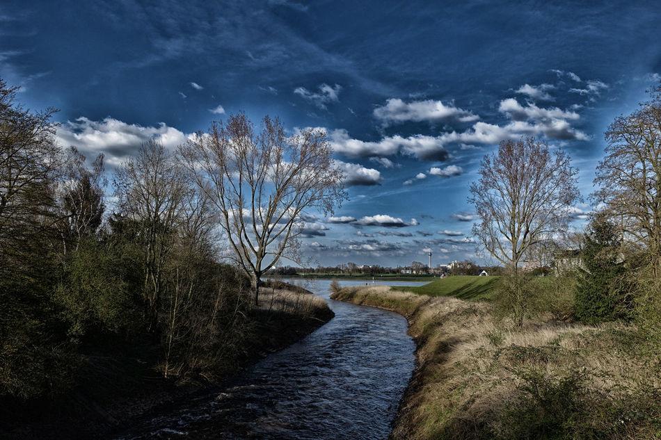 Erft Erftmündung Neuss Rhein Rhine