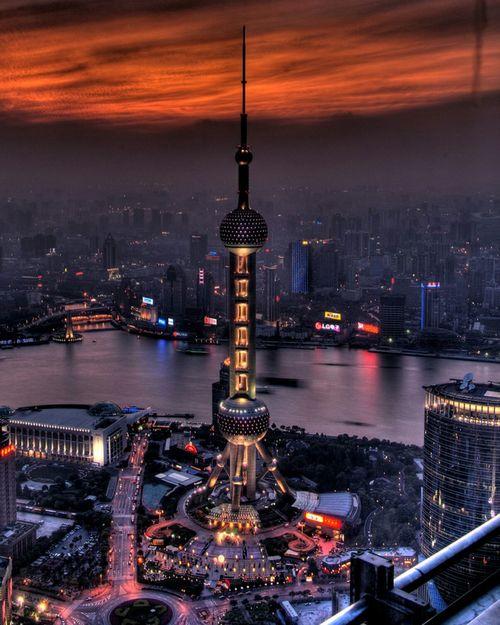 Panoramic View Photography Tower Shanghai Night