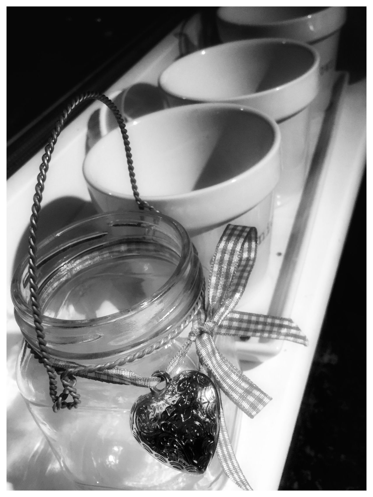 Jars  and Pots Close-up No People Indoors  Day Blackandwhite Monochrome EyeEm Gallery Kitchen Heart Heart Shape Glass EyeEmBestPics Eye4photography  EyeEm High Angle View Perspective Eye4photography