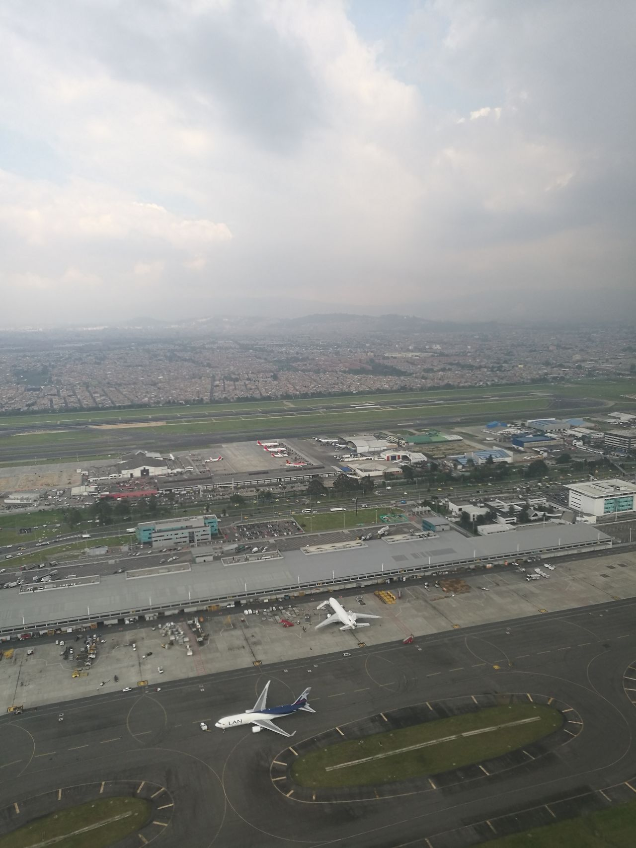 Aerial View Cloud - Sky Sky City Cityscape Bogota,colombia. Internacional Airport El Dorado