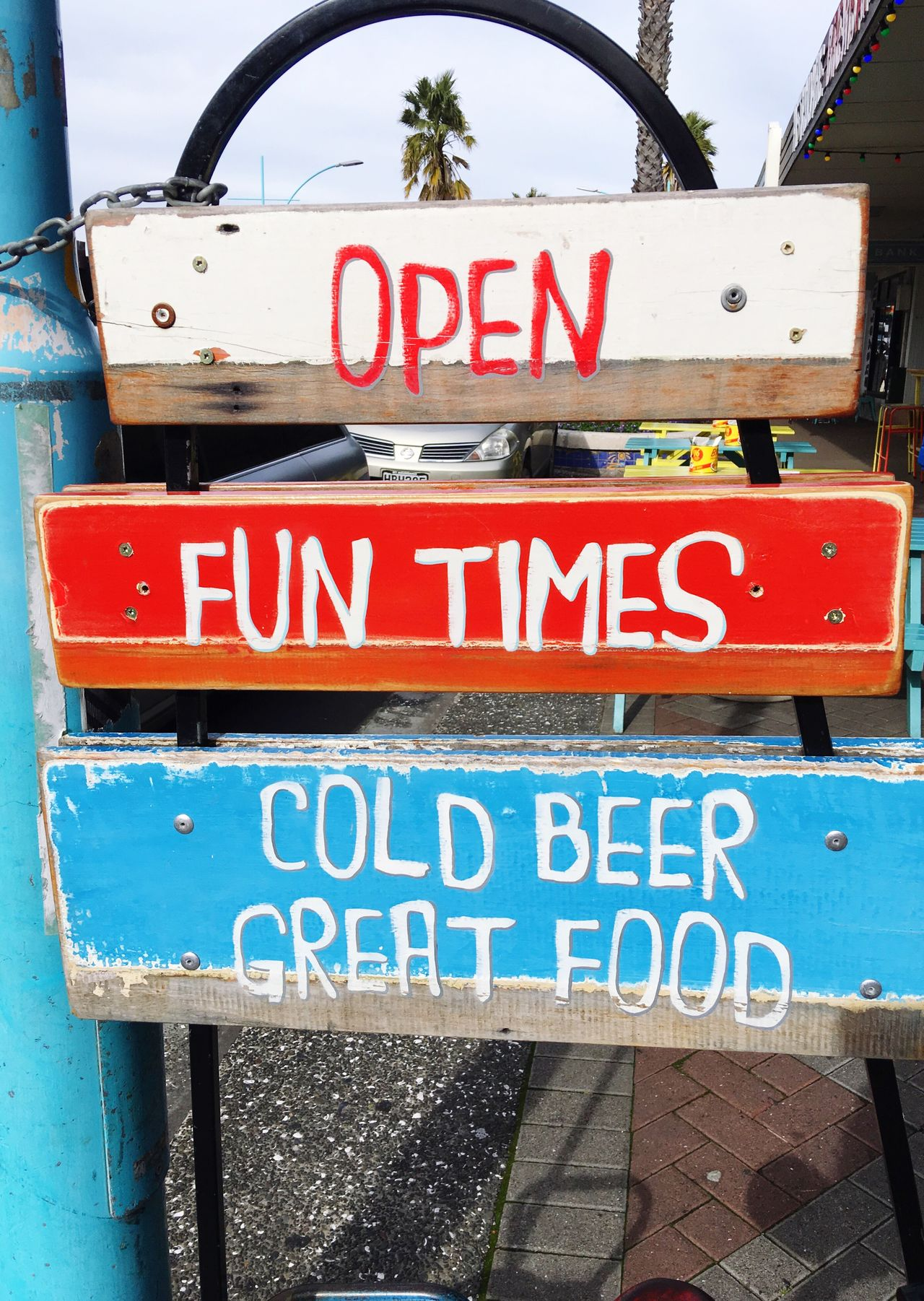 Open. Fun times. Cold beer. Great food. Sign Cool Sign Great Sign... So They Say Found This Check This Out