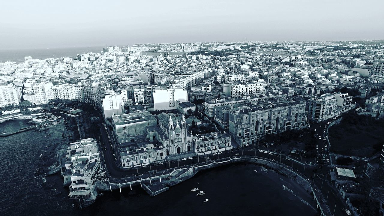 Sea Water No People Cityscape Outdoors Town Sliema Malta Maltaphotography Drone  Dronephotography Blackandwhite Blackandwhite Photography City Mediterranean  Sky Scenics Aerial View Aerialphotography Aerial Shot Top Down