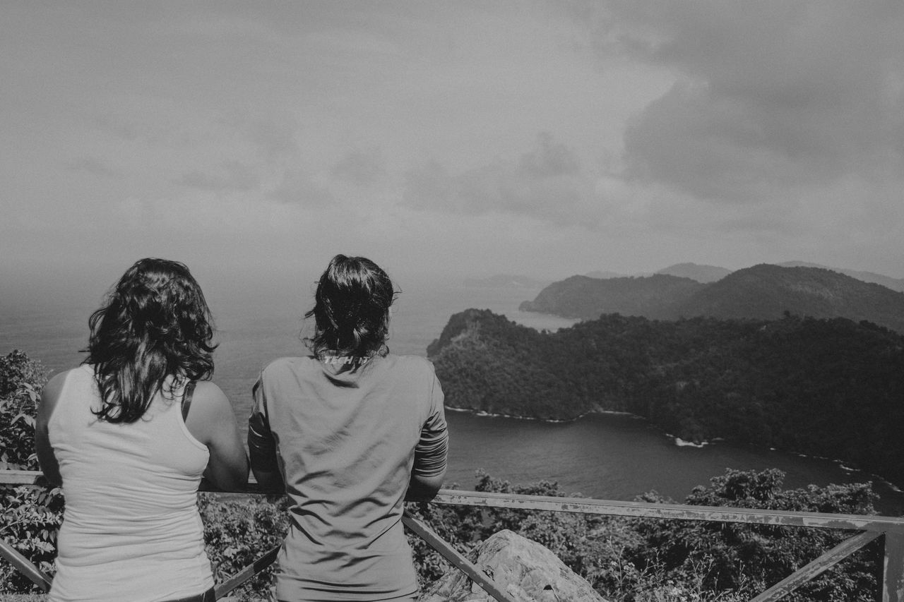Trinidad And Tobago Bonding Day Friendship Landscape Love Maracas Maracaslookout Mountain Nature Outdoors Real People Rear View Sky Standing Togetherness Two People