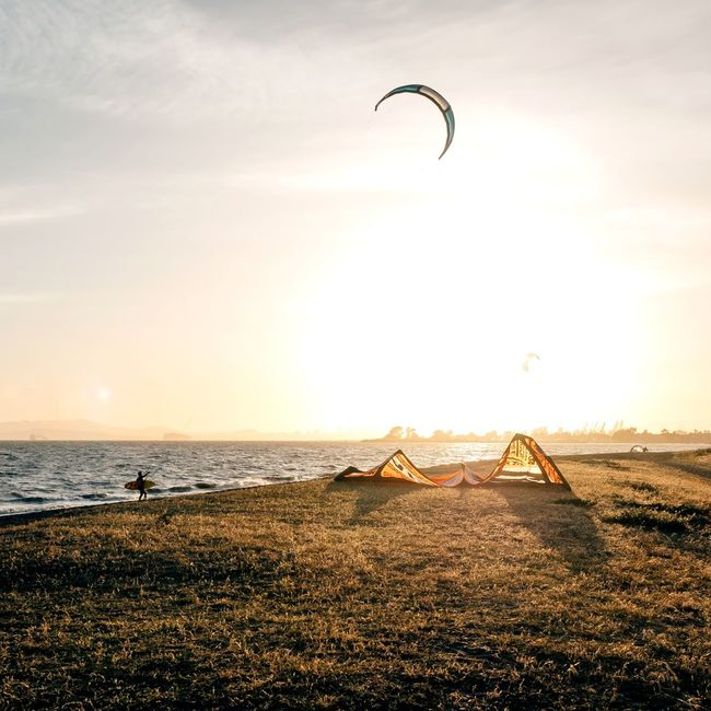 Weekend is here! Time for some fun. Kite Surfing Sports Ocean Struggle Resist Control Under Control Water Pull Fly
