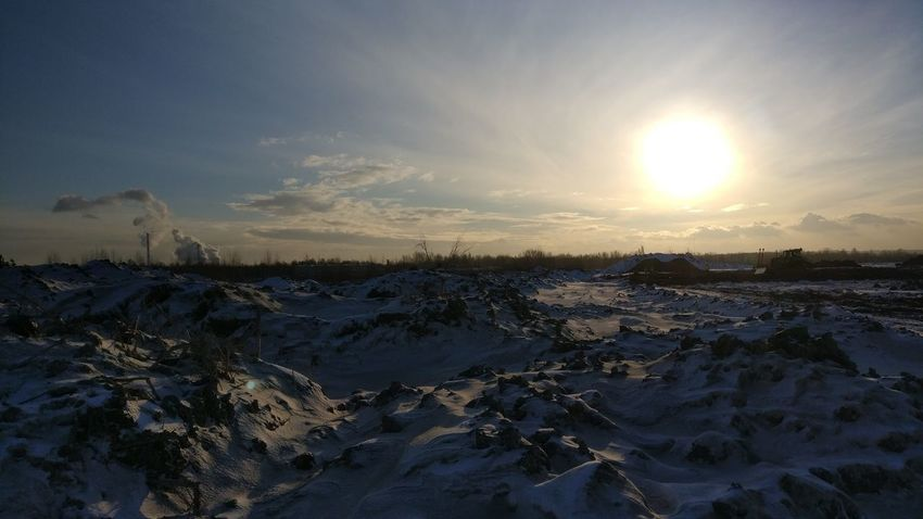 Beauty In Nature Cold Temperature Day Nature No People Outdoors Scenics Sky Snow Sun Sunlight Sunset Tranquil Scene Tranquility Water Winter
