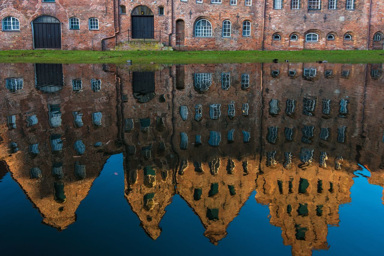 Architecture Building Exterior Built Structure No People Outdoors History Water Nature Day Germany Lübeck Mirroring In Water Historical Building Historical Site