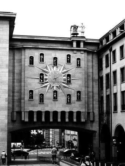 Clock Citizens. : Is so called because each hour mark with an illustrious figure in Brussels. Architecture Big Clock Black And White Blackandwhite Building Exterior Built Structure City Clock Day Jacquemart Clock Land Vehicle No People Outdoors Sky Statue Street Streetphotography Neighborhood Map