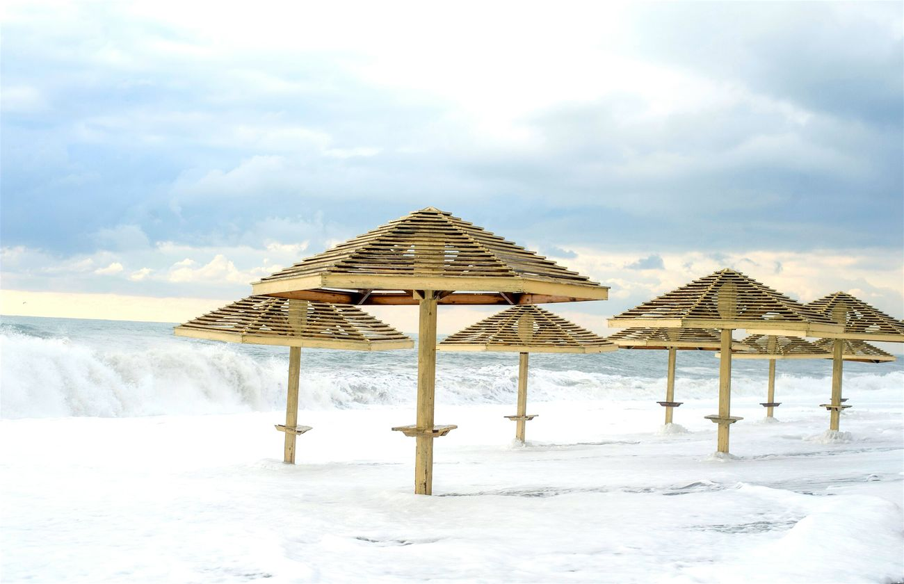 Sand Winter Cold Temperature Beach Architecture Nature Tranquility Snow Sky No People Outdoors Roof Silence Beach Hut Sea Scenics Water Cloud - Sky Sochi😍Landscape Cold Winter ❄⛄ Pohoto ♥ ♡ ♥ Favorite City Black Sea♥