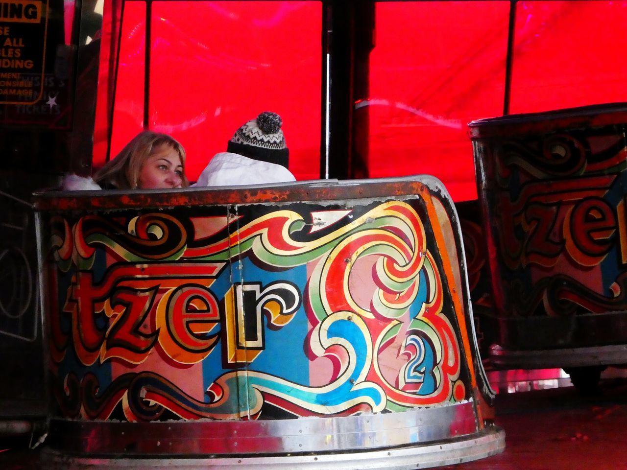 Fairground Ride Fairground Waltzer Colourful Artistic Bright Colours People Conversation One Woman Tourism Fun