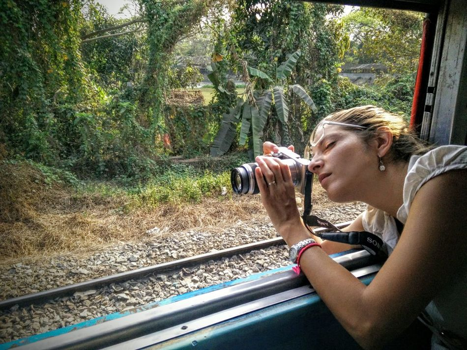 Adventure Travel Train Ride One Person Young Adult Young Women One Young Woman Only Photographer In The Shot in Rangun (Yangon) Myanmar , Travel Around The World Women Around The World