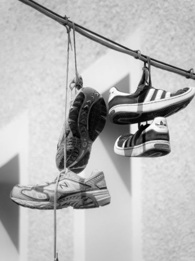 Focus On Foreground Shoes Shoes On Wire Old Shoes Shoes Of The Day Shoes On A Wire Shoes Off Shoesgame Blackandwhite Black And White Blackandwhite Photography Black And White Photography Black And White Collection  Blackandwhitephotography