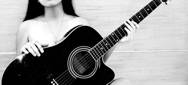 Monochrome Photography Guitar Young Adult Lady Filipina Boudoir Photography Indoors  Long Hair Seductive