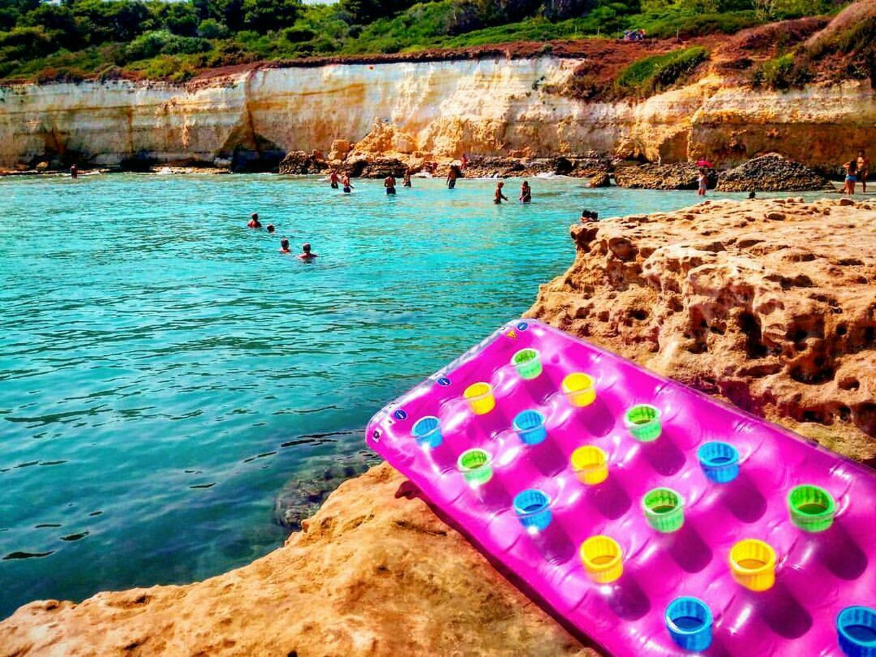 Salento Puglia Water Tranquility Pink Color Sea Coastline Tourism Non-urban Scene Nature Multi Colored Beauty In Nature Riverbank Vacations Colorful Water Tranquility Multi Colored Tranquil Scene Colorful Blue Vibrant Color Scenics Nature Vacations Pink Color First Eyeem Photo