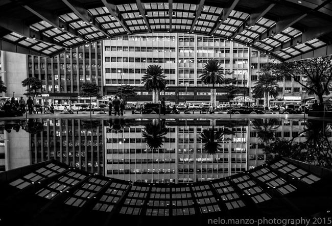 Architecture Art Black & White, Popular Buildings Fisheye People Watching Reflections In The Water Streetphotography