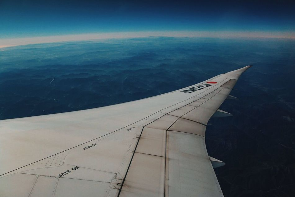 Air Ai r po lu ti on Airplane Transportation Flying Aerial View Aircraft Wing Beauty In Nature Travel Nature Air Vehicle Airplane Wing Journey Scenics Sea Tranquil Scene Sky Day No People Outdoors Landscape