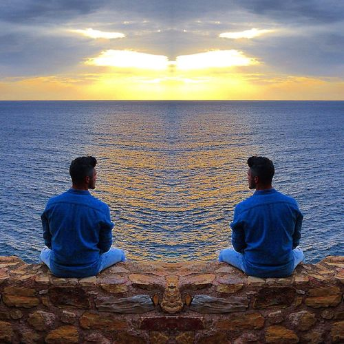 Thinking Rear View Sea Horizon Over Water Two People Sky Sitting Sunset Beach Togetherness Outdoors Men Friendship Cloud - Sky Water Adult Couple People Beauty In Nature Nature Adults Only