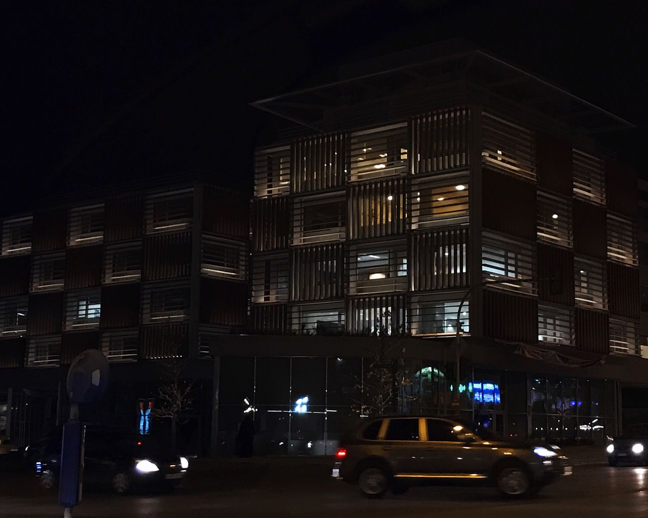 Town Cars Moving Lowlight Building Exterior Night