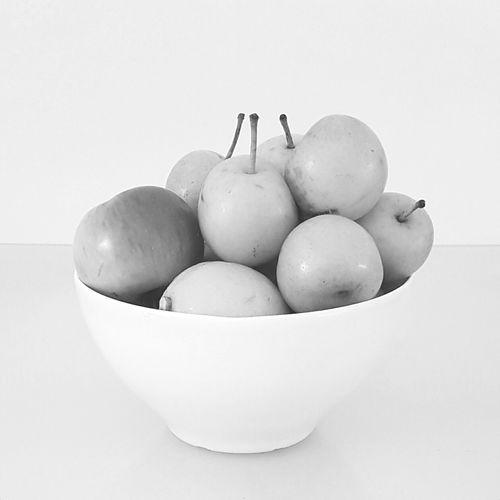 Fruit Healthy Eating Bowl Food Fruit Bowl Apples Lemons And Nashi Pears White Background Aspro