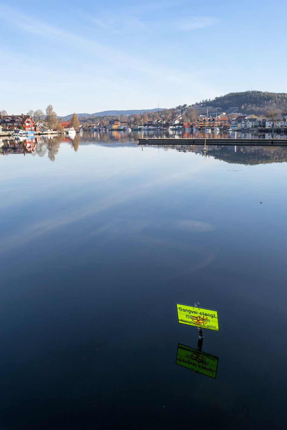 Walkway is closed. No idea why =) Architecture Blue Building Exterior Built Structure City Cityscape Day Nature No People Norway Norway🇳🇴 Outdoors Porsgrunn Reflection River Sky Sony A7 Text Town Vintage Lens Water Waterfront