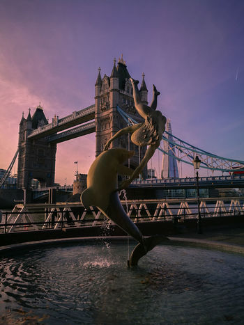 Bridge - Man Made Structure City Travel Sunset Travel Destinations Cityscape Outdoors Skyscraper No People London Tower Bridge  Girl Dolphin Uk United Kingdom Memories HuaweiP9 Huaweiphotography Mobile Photography