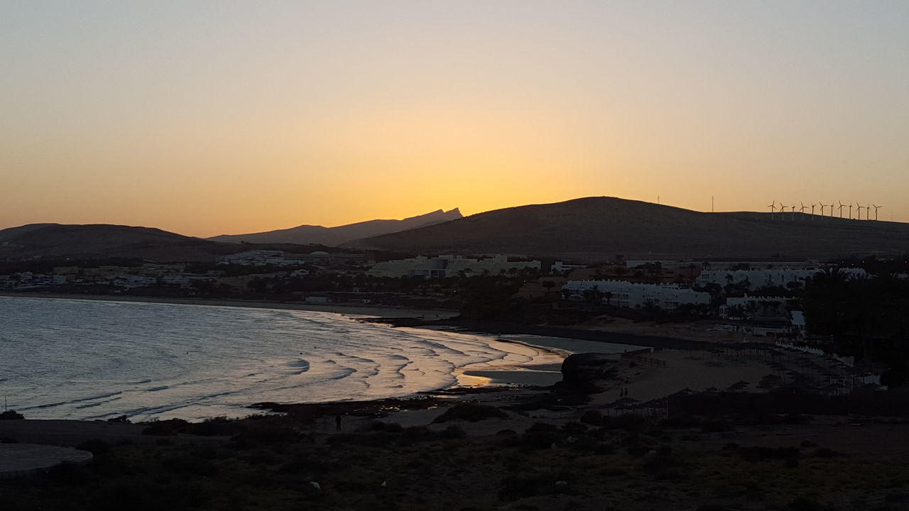 Sunset Water Outdoors Sky Nature Mountain Landscape Lake Scenics No People Beauty In Nature evening Coast Line  Mountains In Background Tranquility Costa Calma Holiday Summerfeeling Spain ✈️🇪🇸 Fuerteventura Little Town