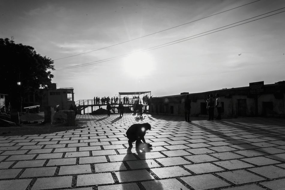 Rear View Outdoors The Way Forward Sky Animal Themes Day People Travel Photography Dramatic Sky Landscape Light And Shadow Good Morning Sunrise Beauty In Nature Architecture Silhouette Nature Sun Texture Street Photography Monocrome B & W Street Photography Black And White