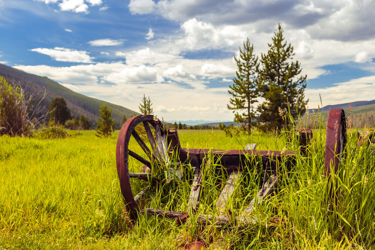 Abandoned Beauty In Nature Cloud - Sky Colorado Ditch Road Field Grass Green Color Landscape No People Outdoors Rocky Mountain National Park Rural Scene Scenics Sky Summer The Great Outdoors - 2016 EyeEm Awards The Essence Of Summer