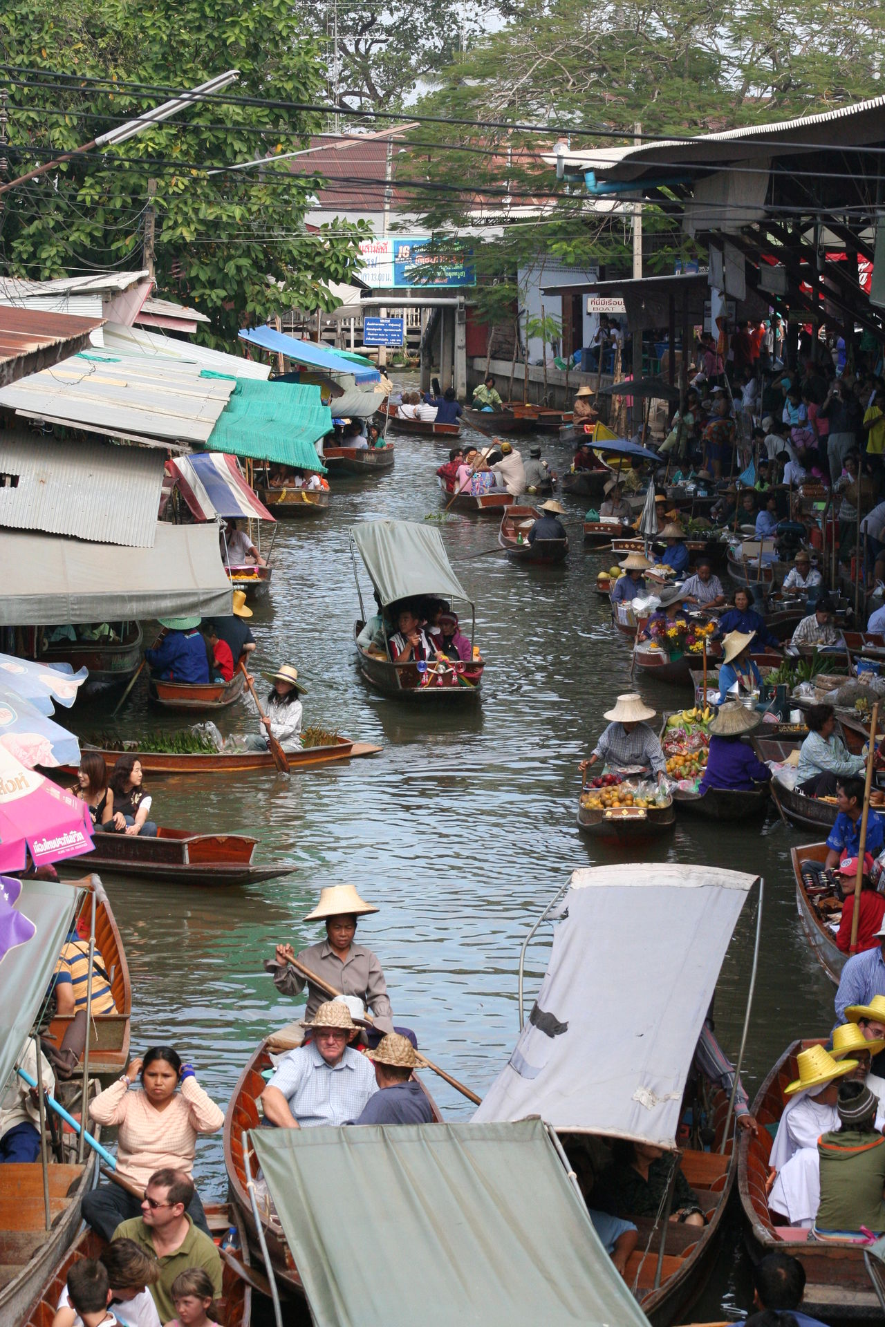 Abundance Boat Canal City Life Crowded Day Elevated View Floating Market Lifestyles Mode Of Transport Outdoors Thailand Tourism Tourists Town Travel Destinations