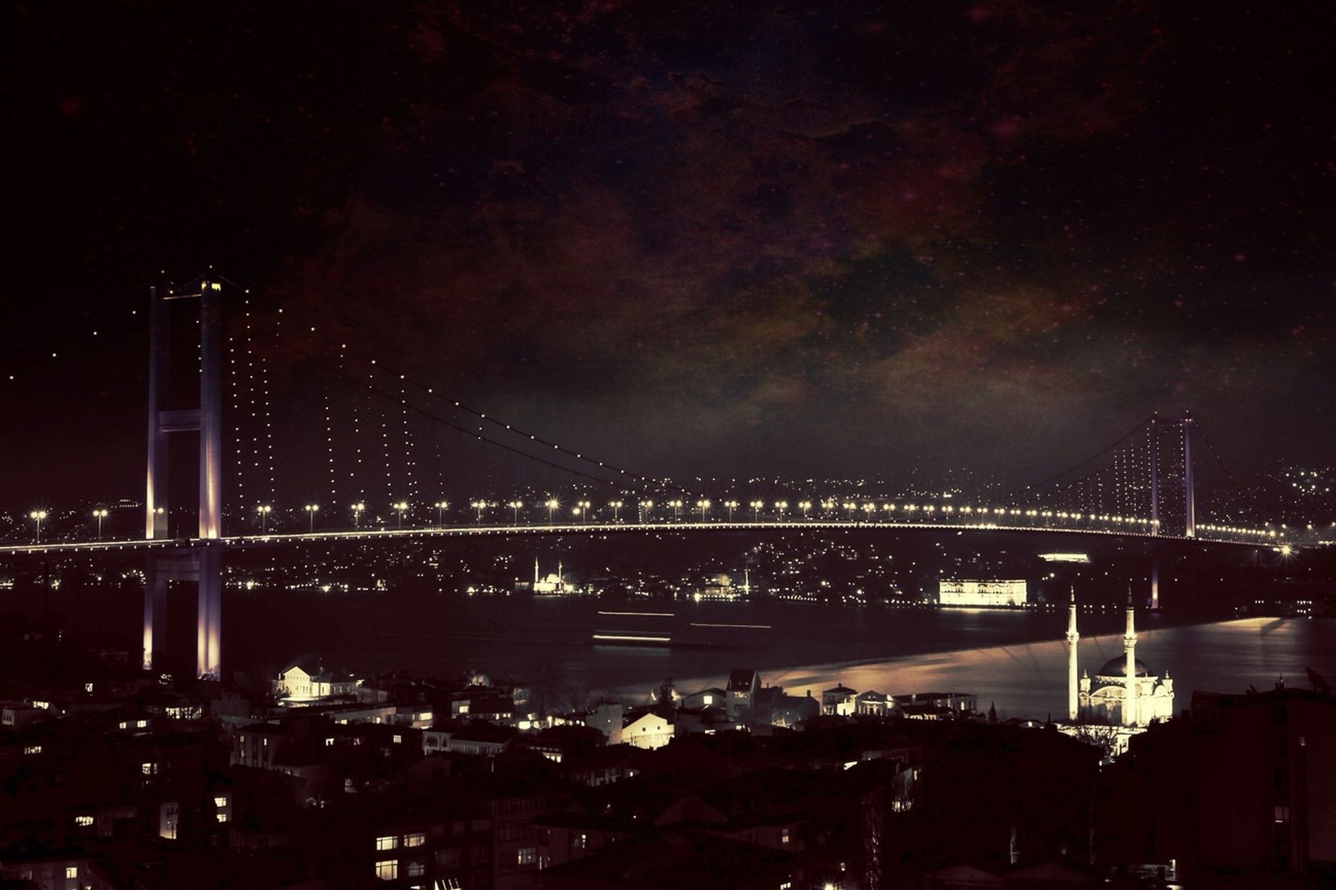 night, illuminated, architecture, built structure, connection, bridge - man made structure, sky, river, city, water, engineering, suspension bridge, travel destinations, bridge, cityscape, famous place, travel, transportation, tourism, capital cities