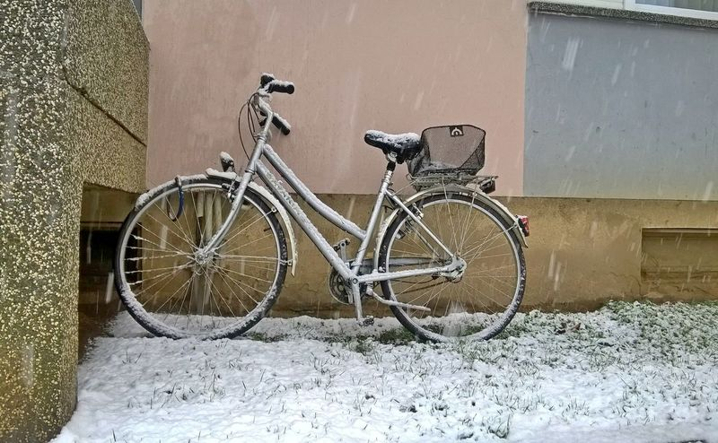 Bicycle Day January Land Vehicle Mobilephotography Mode Of Transport No People Outdoors Simplicity Snow Snowing Spoke Stationary Transportation Winter Winter Tones