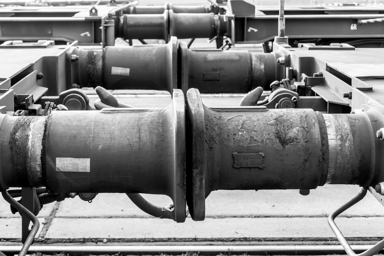 Black & White Logistics Logistik Transportation Wagon  Black And White Bumper Close-up Connected Connection Day Freight Train Freight Transportation Industry Logistic No People Outdoors Rail Transportation Train Buffer Buffers