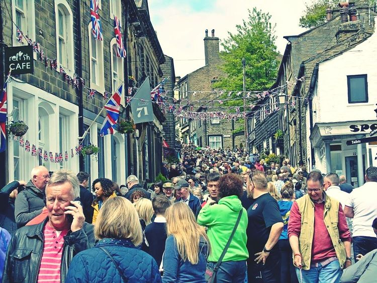 Celebration Women Participant Outdoors Large Group Of People Adult Parade People City Meeting Haworth 1940's Weekend 1940s Fashion 1940s Crowd People Watching
