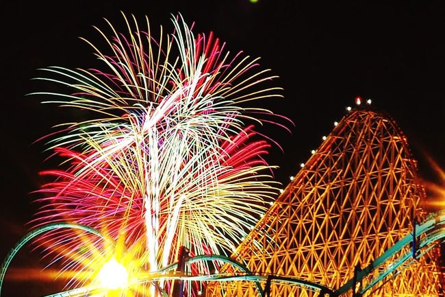 花火大会 遊園地 Firework Fireworks In The Sky Long Exposure