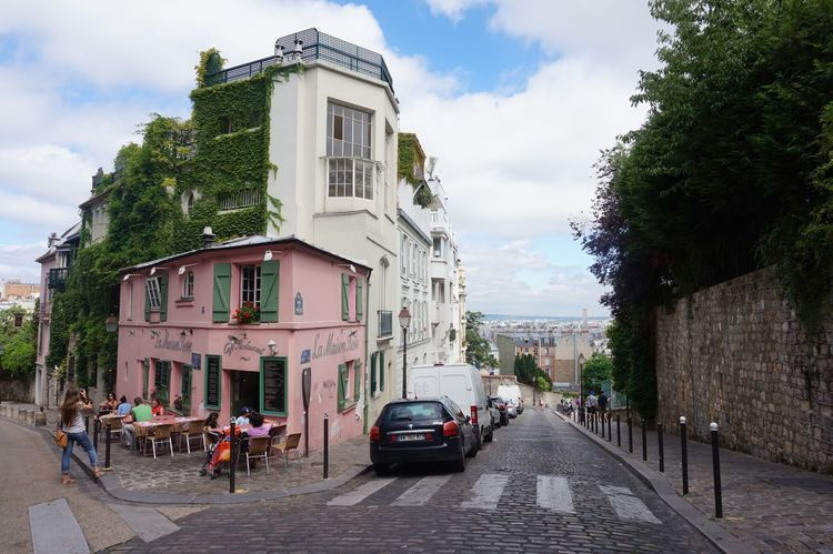 Pink Building Paris Street Shiny Day Building Exterior Outdoors Real People Paris, France  Europe Trip Monmartre