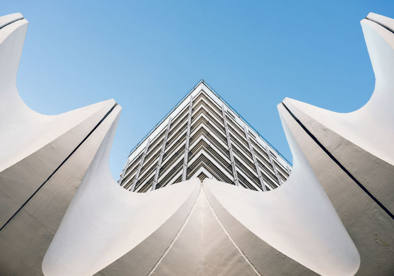 A Berlin photographer's cliché - Haus des Reisens Abstract Airplane Architecture Arrangement Berlin Berlin Photography Building Exterior Built Structure Clear Sky Day Geometric Shape Low Angle View No People Outdoors Sky Stereotypes