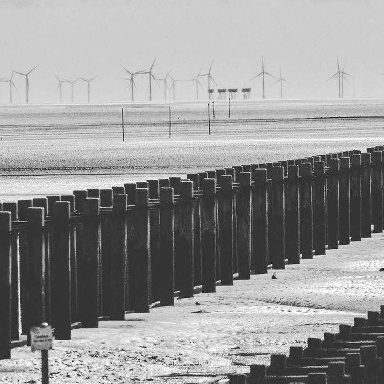 Environmental Conservation Alternative Energy Wind Power Beach Maunsellforts Essex Sea Defence Low Tide Shoeburyness